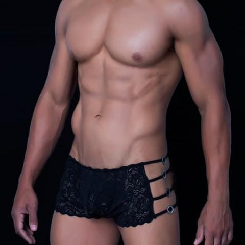 boxer abierto de encaje negro S M